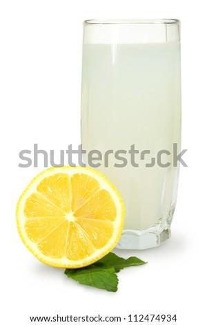 lemon- mint drink and fresh lemon on a white background