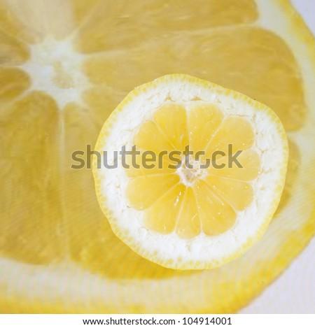 Lemon on a tablet displaying a lemon - stock photo