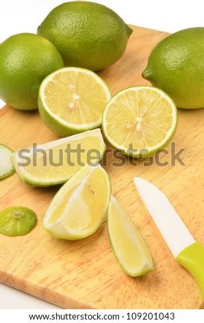 Lemon on a wooden cutting board