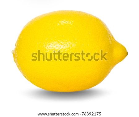 lemon over white background with drop shadow