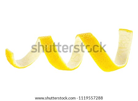 Lemon peel isolated on a white background. Healthy food. #1119557288