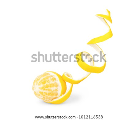 lemon peel isolated on white background #1012116538