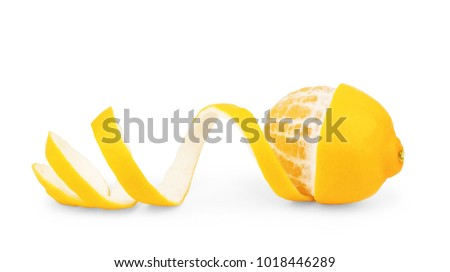 lemon peel isolated on white background #1018446289