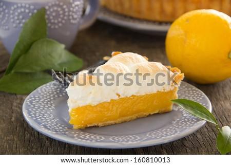 Lemon pie with meringue.