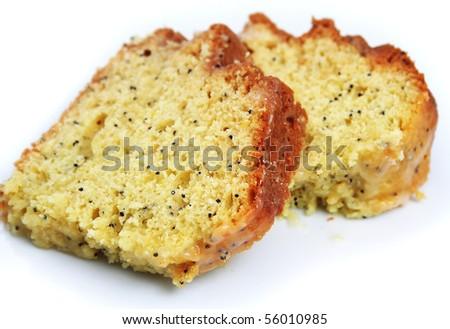 Lemon Poppy Seed Cake Slices on White Background - stock photo