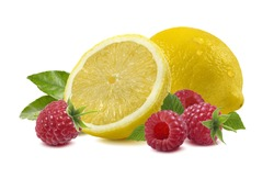 Lemon raspberry isolated on white - horizontal composition as package design element