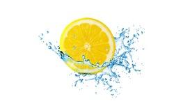 lemon, refreshing, clean, lemon have water splash.