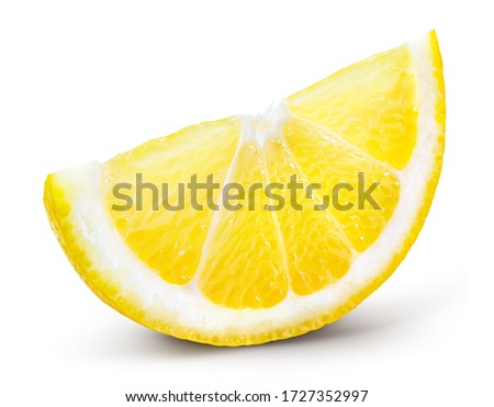 Lemon slice isolate. Cut lemon slice side view. Lemon slice with zest isolated. With clipping path.