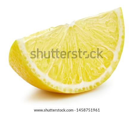 Lemon slice isolated on white background. Lemon fruit Clipping Path. Quality macro photo
