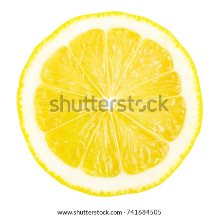 Lemon slice isolated on white background. Top view, circle shape. Clipping path included.