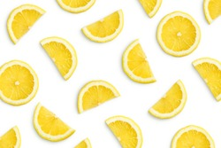 Lemon slices as pattern isolated on white background