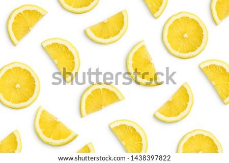 Lemon slices as pattern isolated on white background Stock photo ©