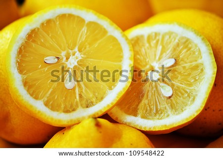 Lemon slices close up image