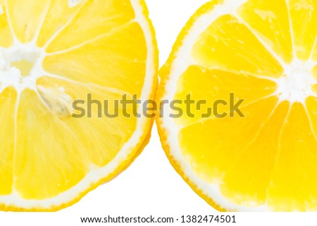 lemon slices in the water, close-up, top view. sliced lemon on white isolated background #1382474501