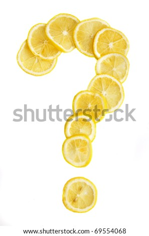 Lemon slices laid out in form of question