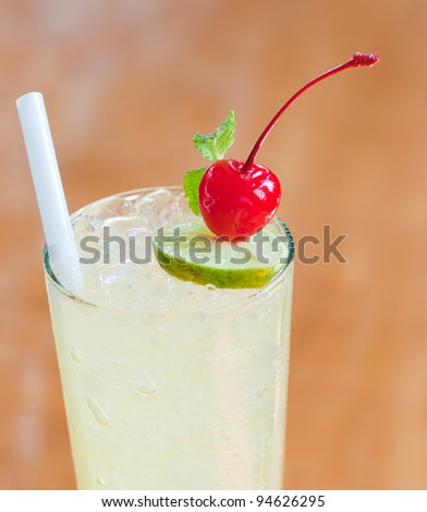 lemon soda with cherry