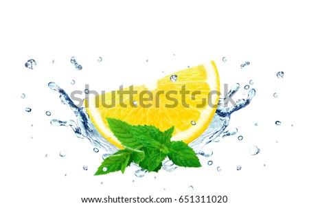 lemon splash water isolated on...