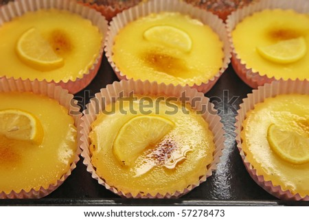 Lemon tarts at a dessert shop