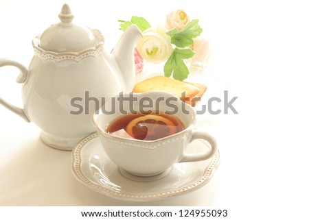 Lemon tea and cookie for afternoon tea image