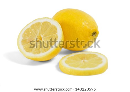 lemon, with half fruit and a slice has more than enough white bottom