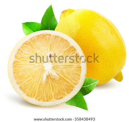 lemon with half of lemon...