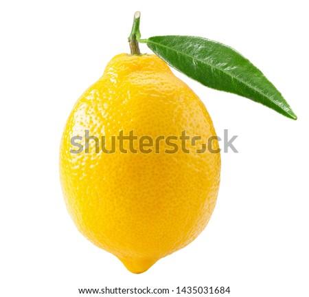 Lemon with leaf isolated on white background