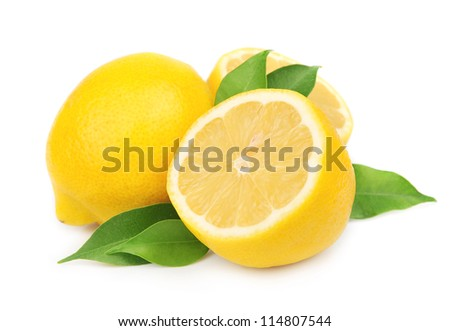 Lemon with leaves on white