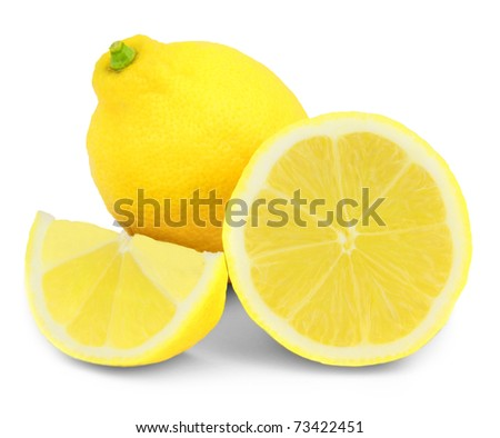Lemon with slices isolated on white