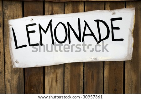 Lemonade Sign on a Wooded Stand