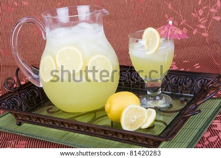Lemonade with pitcher and glass - stock photo