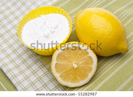 Lemons and Baking Soda are a Natural Environmentally Friendly Way to Clean Your Home. - stock photo