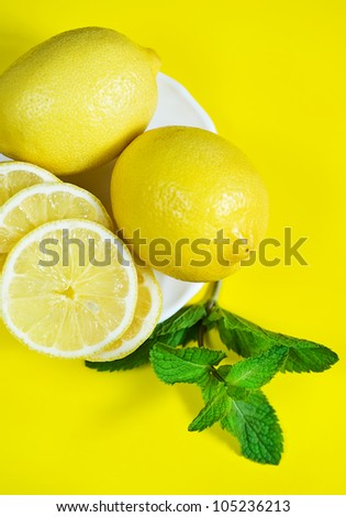 Lemons and branch of mint on the yellow background