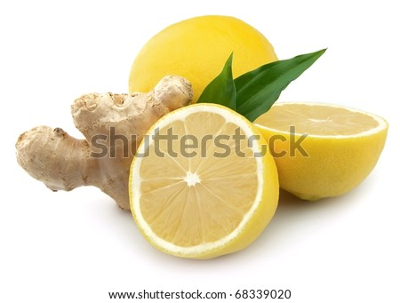 Lemons and ginger on a white background