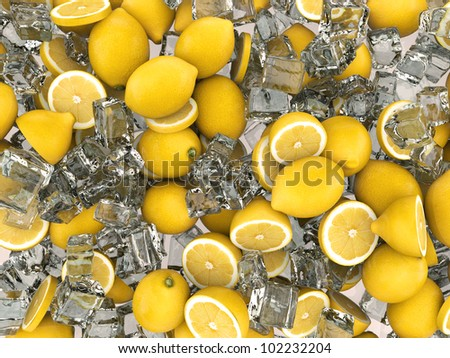 lemons and ice cubes
