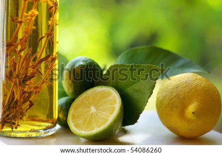 Lemons and vinegar. - stock photo