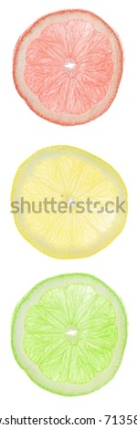 Lemons in traffic-lights colors.
