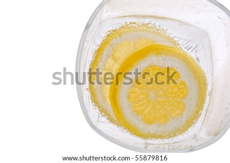 Lemons in Water with Bubbles Border Image Isolated on White.
