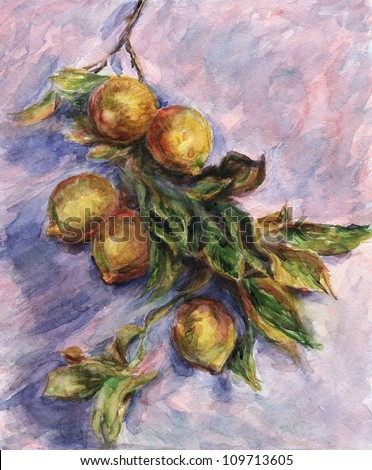 "Lemons on a Branch. Inspired by Claude Monet painting ""Lemons on a Branch"", watercolor interpretation."