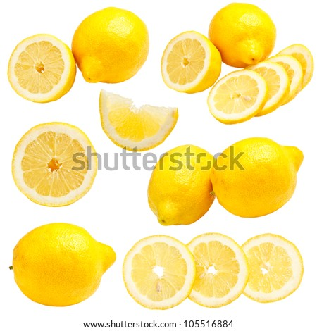 Lemons set isolated on a white background