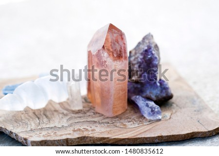 Lemurian crystal with Amethyst and Selenite Wand. Spiritual healing crystals for intentional meditation.  #1480835612