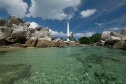 Lengkuas Island is a beautiful island in Belitung. The exoticism of this island is due to the view of the granite rocks around the coast.