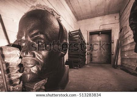 lenin monument in abandoned ex...