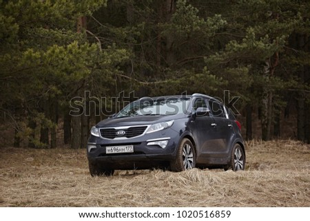 Leningrad Region, Russia - April 2017: A black car on a background of a pine forest and dry spring grass.  Driving on  outdoors. Front view #1020516859