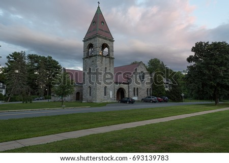 Lenox, MA, USA -- August 5, 2017 An Episcopalian Church in the early evening in Lenox MA. Editorial Use Only.