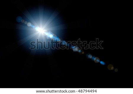 Lens flare artistic effect isolated on black background. Can be overlayed on an image with screen mode to get nice realistic lens flare effect.