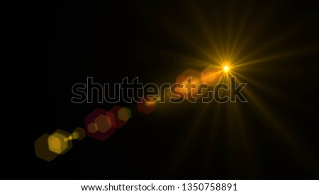 Lens flare  glow light effect  on black background. Easy to add overlay or screen filter over photos  #1350758891