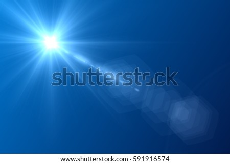 lens flare in the afternoon on blue sky background #591916574
