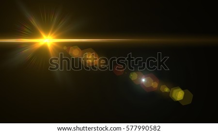 Lens Flare light over Black Background. Easy to add overlay or screen filter over photo #577990582