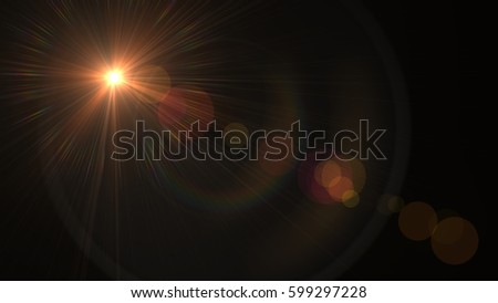 Lens flare  light over black background. easy to add overlay or screen filter over Photos #599297228
