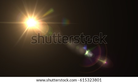 Lens flare light over black background. Easy to add overlay or screen filter over photos - Shutterstock ID 615323801